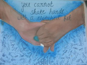 you cannot shake hands with clenched fist