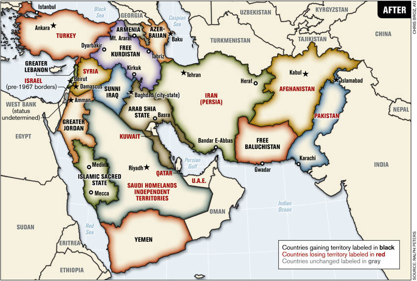 new middle east map