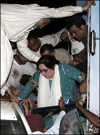 Benazir Bhutto Rescued after Blast