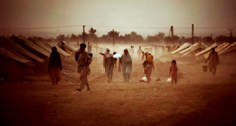 Displaced people at the Jalozai refugee camp near Peshawar