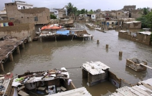 Rain water destroyed houses in Karachi