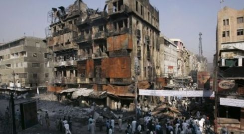 Building burned at Bolton Market after Karachi Ashura Blast