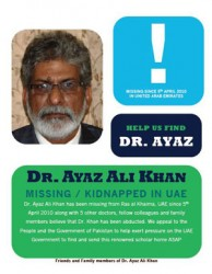 Dr Ayaz Ali Khan missing in UAE