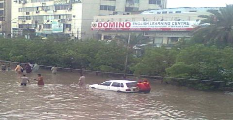 domino nursery submerged in karachi rain