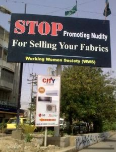 ad against nudity in Karachi
