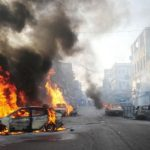 Cars burned at Napier road Karachi