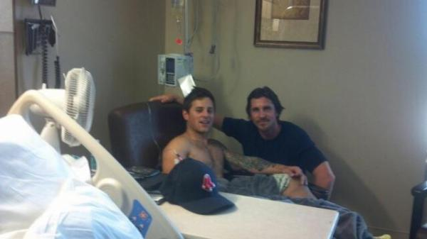 Christian Bale with Colorado Shooting Survivor