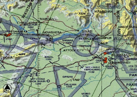 PAF Kamra navigation chart