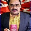 British national Altaf Hussain showing UK passport