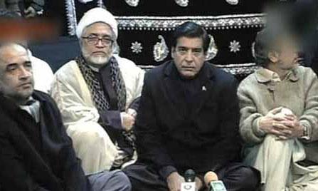 Raja Pervaiz Ashraf meeting Shia Hazara protesters in Quetta