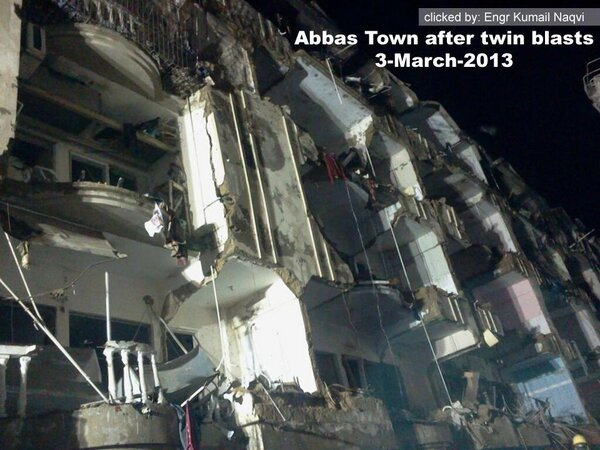 Iqra City after blast near Abbas Town Abul Hassan Ispahani road Karachi