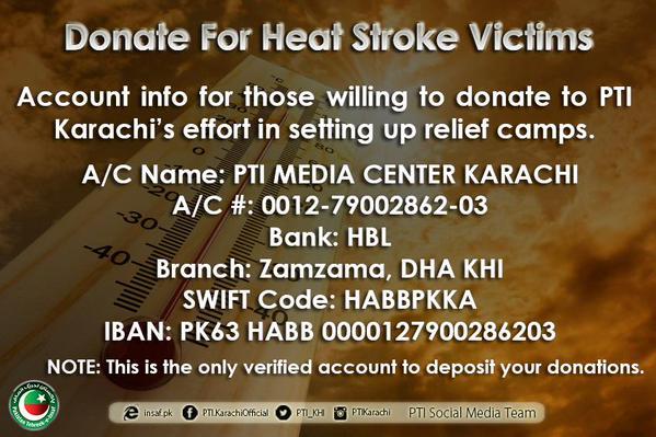 PTI relief account for heatstroke victims