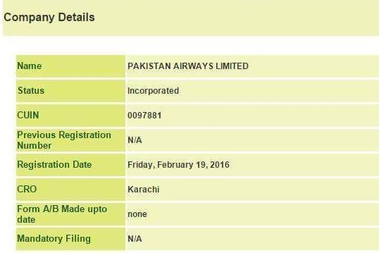 Pakistan Airways registered