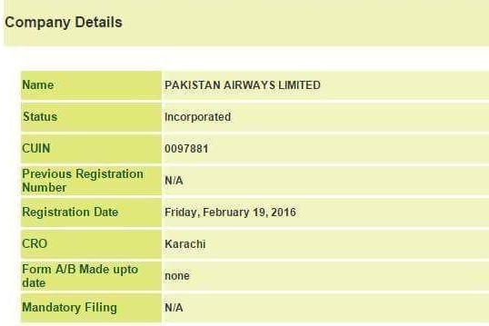 Pakistan Airways registered
