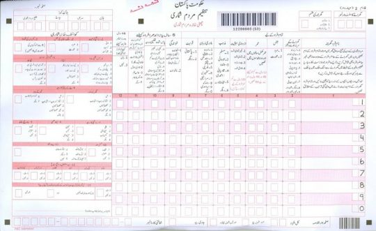 Pakistan census 2017 census form